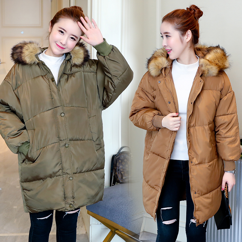 2017 new large size fur collar thick down jacket pregnant women in the long section of leisure jacket цена