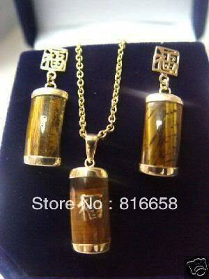 Free shipping@@Exquisite tiger's eye necklace earrings set