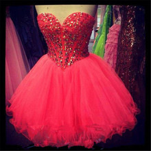 Günstige Ballkleider Kurze Pink Homecoming Kleider mit Strass 2016 Vestido De 15 Cortos