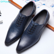 QYFCIOUFU New Arrival British Style Pointed Toe Men Genuine Leather Shoes Lace-up Dress Handmade Business Formal