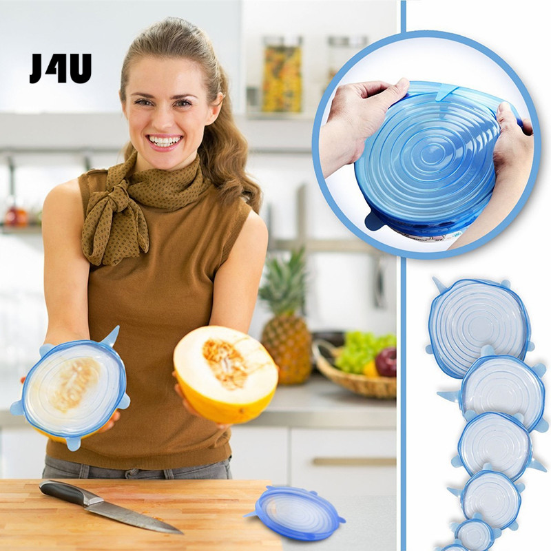 6pcs set Silicone Lids Durable Reusable Food Save Cover Heat Resisting Stretch Lids Saran Wraps Organization
