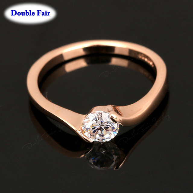 Austrian Cubic Zirconia Engagement/Wedding Finger Rings For Women Rose Gold Color Fashion Brand Jewelry For Women DWR239 1