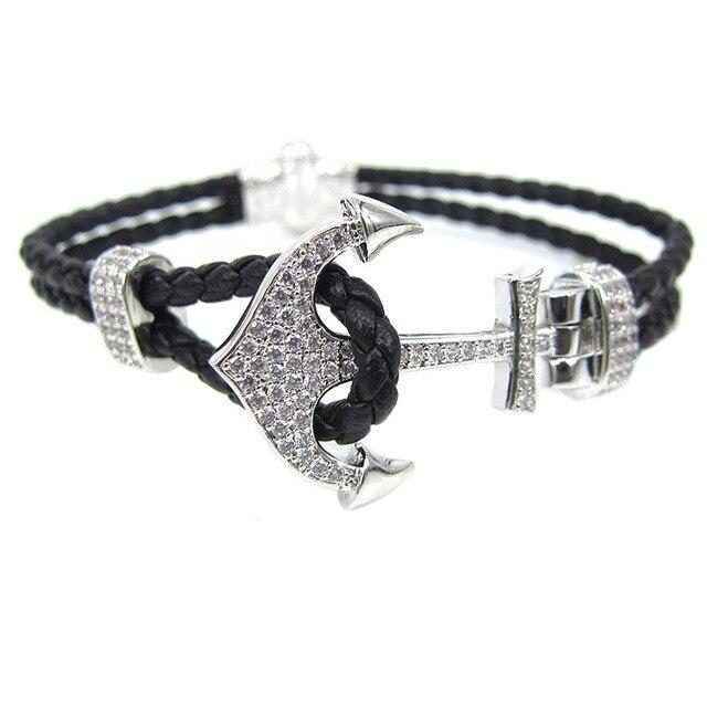 Neue Tom Hoffen Mode Atolyestone Schmuck Pu Leder Armband Versilbert