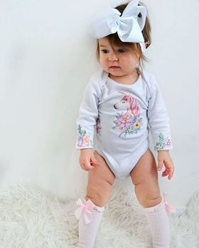 2017 Newborn baby girls colorful unicorn print white long sleeve bodysuits baby girl white outfit tiny cottons autumn 2017