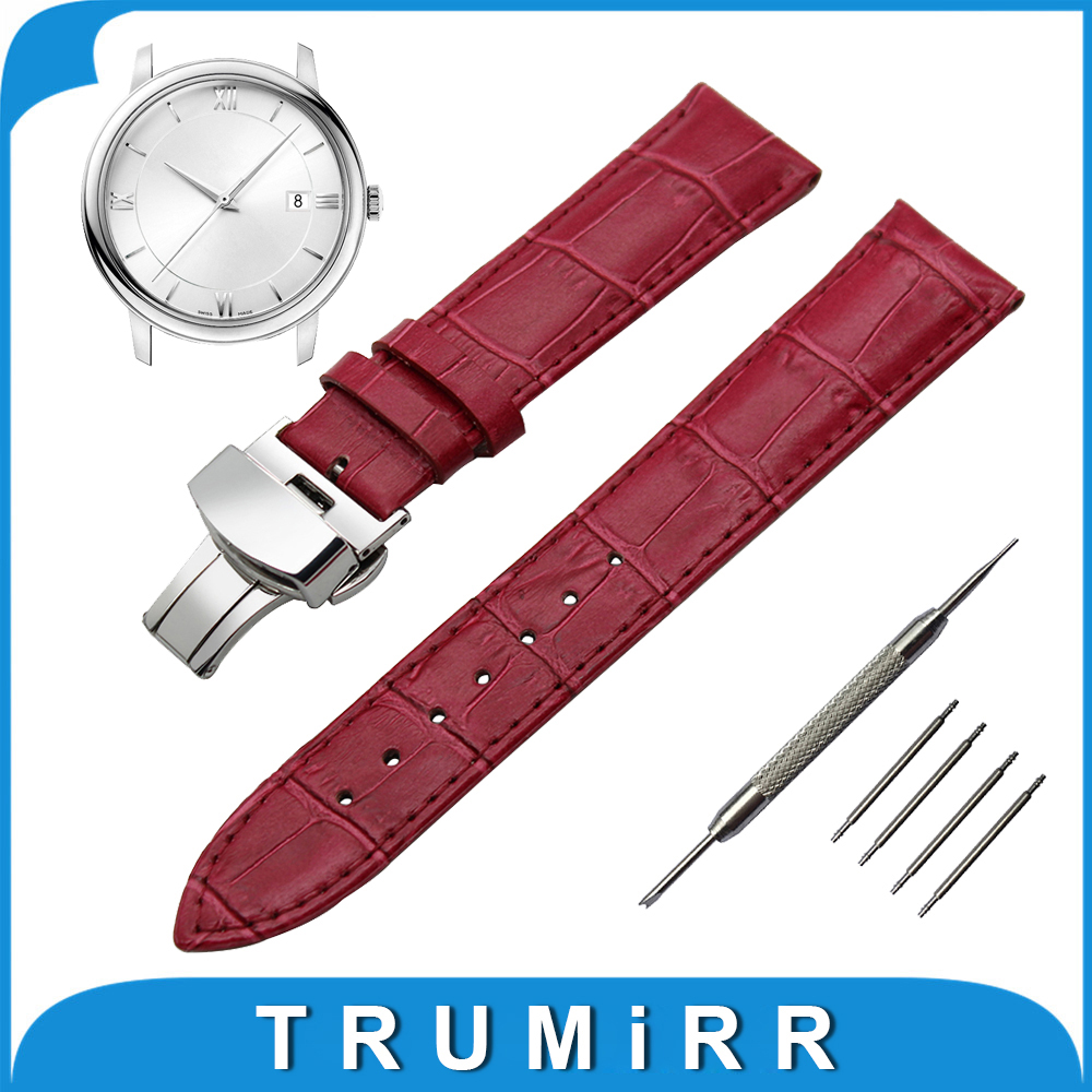 18mm 19mm 20mm 21mm 22mm Genuine Leather Watch Band for Omega Stainless Butterfly Buckle Strap Wrist Belt Bracelet + Spring Bar