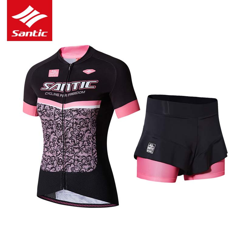 2017 Santic Cycling Jersey Set Women Summer Cycling Clothing Quick Dry MTB Road Pro Bike Bicycle Clothes Suit Ropa Ciclismo S-XL