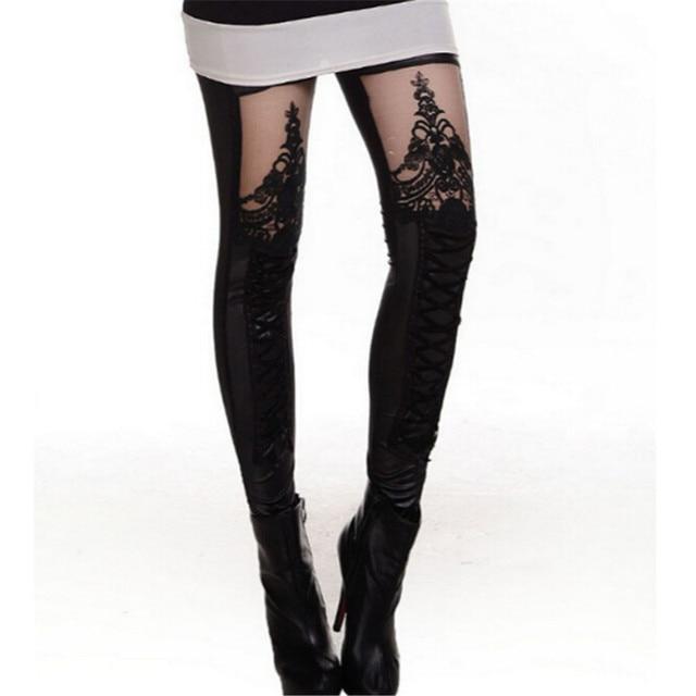 e8cb3c5b53b Fashion New 2016 Punk Sexy PU Leather Stitching Embroidery Bundled Hollow  Lace Black Leggings for Women