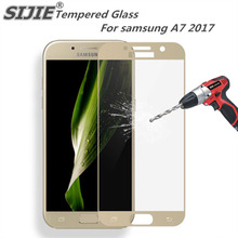 SIJIE full cover Tempered Glass For samsung A7 2017 Screen protective coverage White black Gold 5.7 inch SM-A720 A720 защитное стекло interstep full screen cover 0 3мм sams a7 2017 a720 black