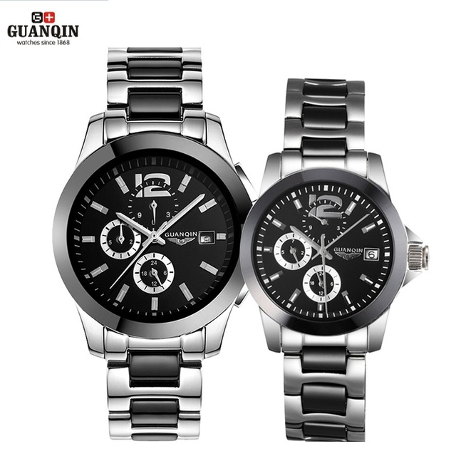 GUANQIN Ceramics Couples Lovers' Watches Multifunction Waterproof Automatic Mechanical Watches Men Women Sport Luminous Clock