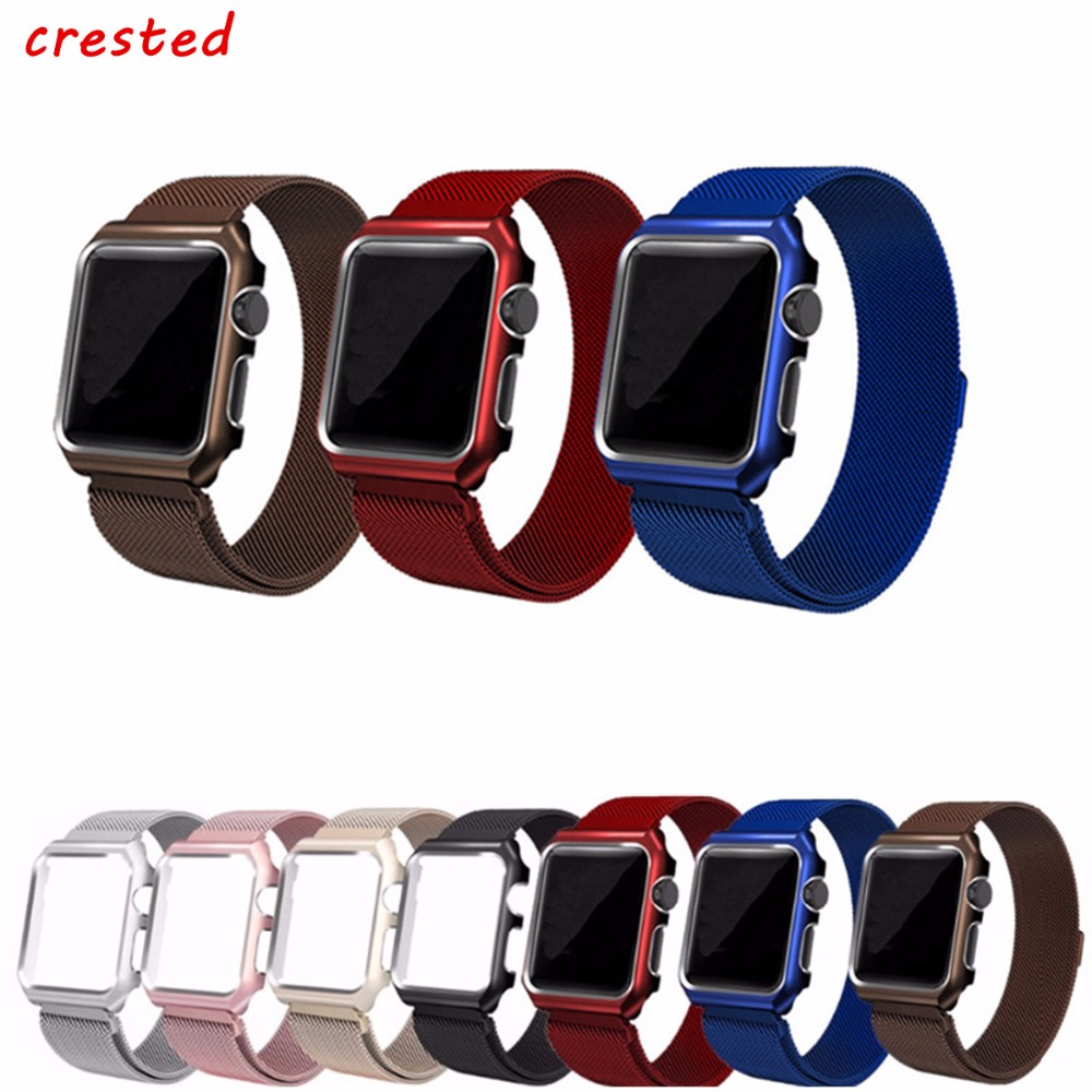 CRESTED Milanese Loop Strap For Apple Watch band 42mm/38mm iwatch 1 2 3 wrist band Link Bracelet Stainless Steel band with case eastar milanese loop stainless steel watchband for apple watch series 3 2 1 double buckle 42 mm 38 mm strap for iwatch band