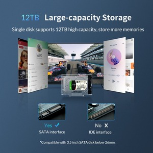 Image 5 - ORICO 3.5 inch SATA to USB 3.0 HDD Case with Holder Support 12TB Max Transparent Hard Drive Enclosure