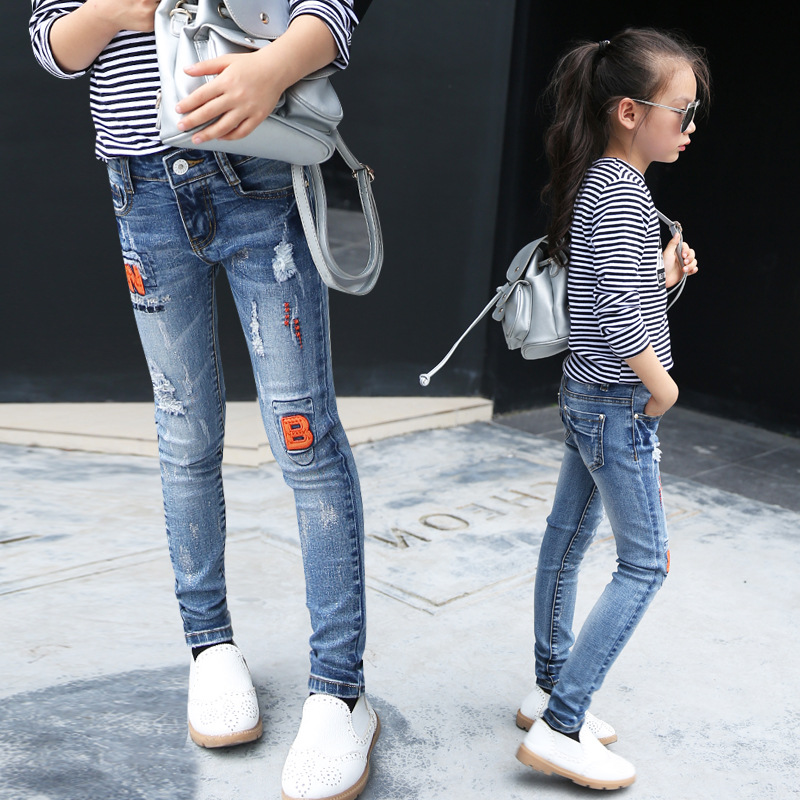 2016 Girl Jeans Trousers Kids High Quality Slim Jeans Print Letters Denim Pants for Girls 4