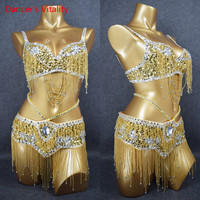 2018 Bellydance Spandex Women Dancewear Professional 2pcs Outfit For Oriental Beads Costume Belly Dance Competition Bra +Belt