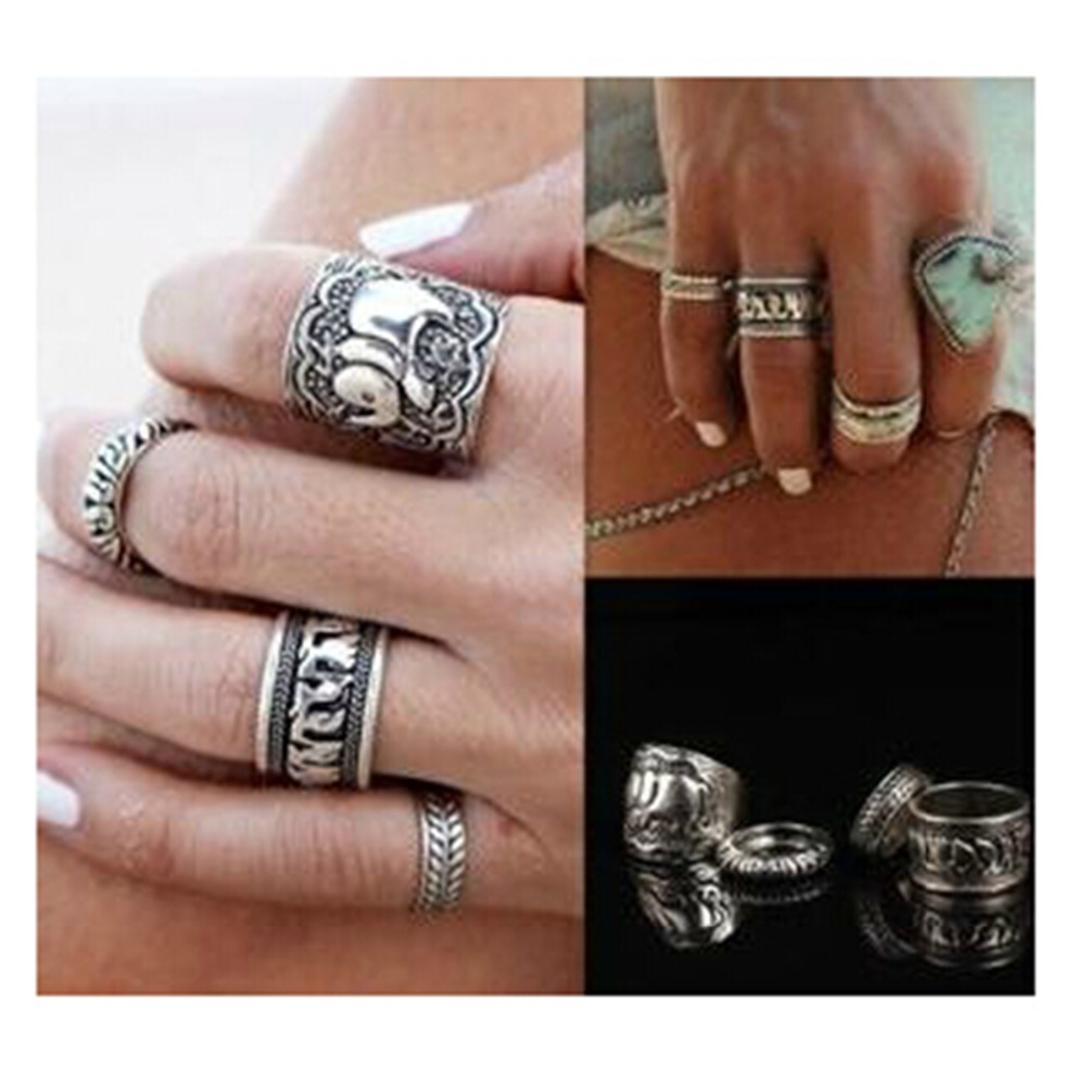 nj90 4pcs/Set Vintage Punk Ring Set Unique Carved Antique silver plate Elephant Totem Leaf Lucky Rings for Women Beach Jewelry