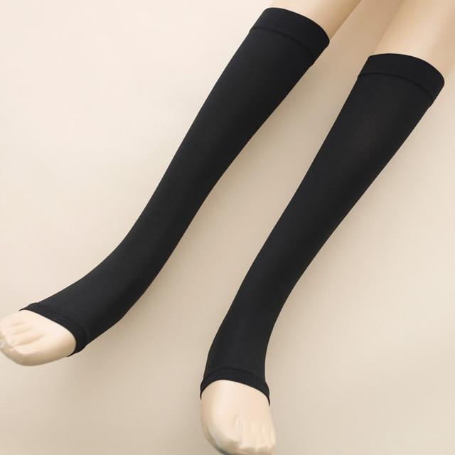 280D mulheres 30 mmHG 40 mmHG varizes sox de Silicone coxa de fino fechado toe meias de NYLON