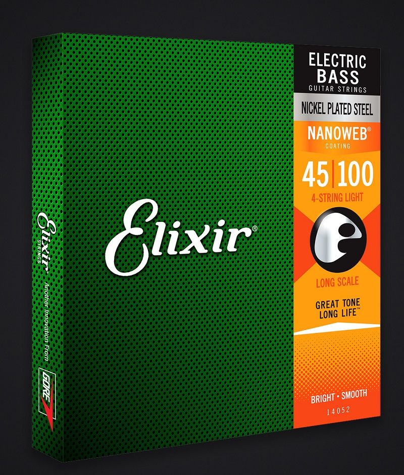 Elixir Original Strings 14052 Nanoweb Electric Bass Strings, Light 45-100 Long Scale rotosound rs66lh bass strings stainless steel
