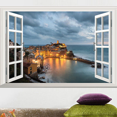 Window view scenery wall sticker seaside castle sticker scenery removable wall stickers wall decals pvc home