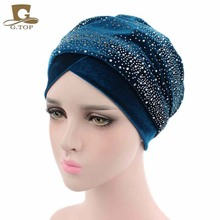 2017 New fashion Women luxury  diamante Extra Long Velvet Turban Head Wraps Hijab Head Scarf Turbante free shipping