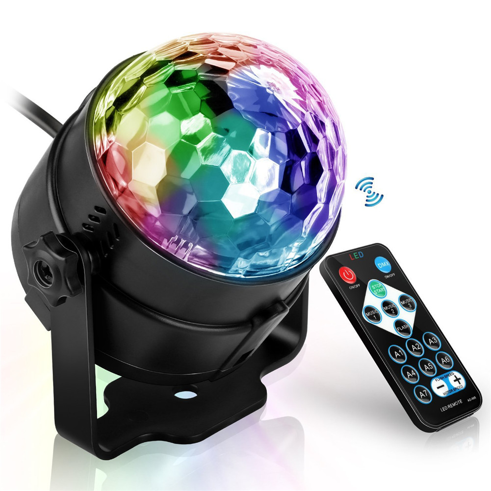 2019 Hot Party Lights Sound Activated With Remote Halloween Disco Ball Light Rotating LED Stage Lights AI88