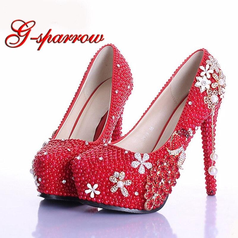 Элегантная перламутрово красная свадебная обувь со стразами роскошная  свадебная обувь ручной работы дамские туфли лодочки на высоком каблуке (12  5 см) со ... b50c7936256