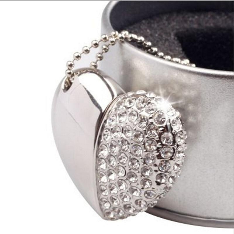 Free Shipping Wedding Gift USB Flash Drive With Rhinestones Crystal Pen Drive Pendant Jewelry USB Stick High capacity 8gb