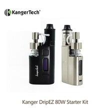 Original Kanger Drip EZ Starter Kit 80W E Cigarette Vape Vaporizer with Pump Push RBA 0.3Ohm Drip coil 0.2Ohm e cigarette kit