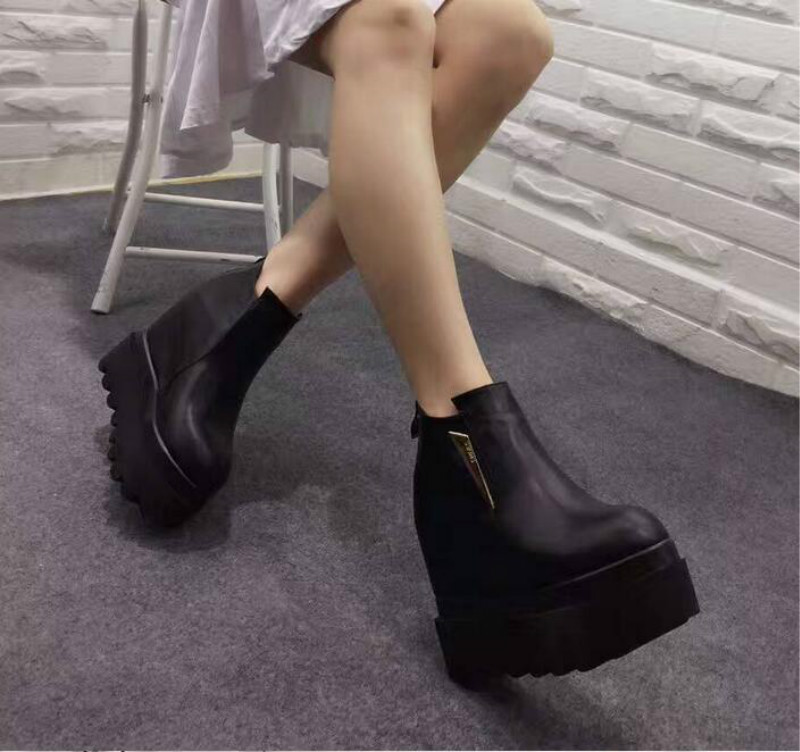 ФОТО Autumn and winter with the new bottom slope height boots 12cm High - heeled Pine Bottom Velvet Martin Boots