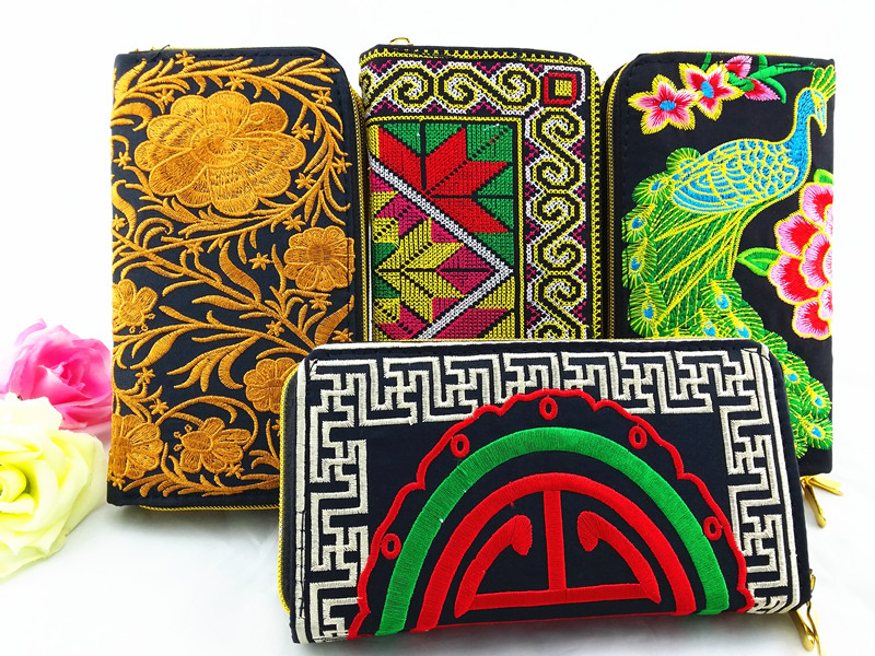 Ethnic Black Canvas Embroider Double zipper Purse in women long Wallet Retro Clutch Card Coin Holder Phone Bag Women Handbag rose flower canvas wallet card case coin purse clutch handbag buckle mini bag