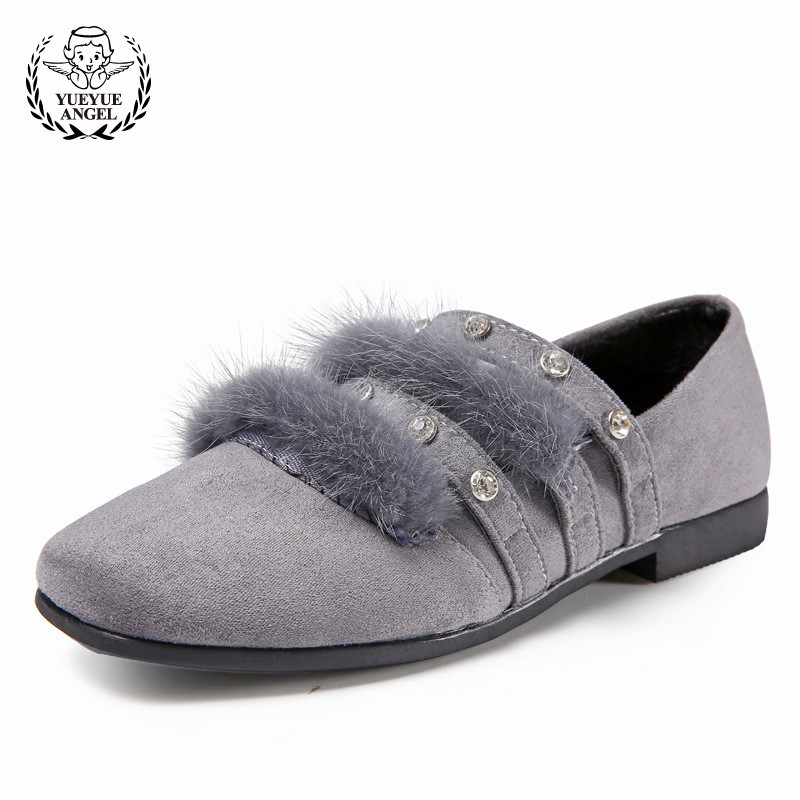 2018 Spring New Fur Moccasins For Girls Loafers Princess Shoes Wedding Block Heels Formal Pink Shoes Girls Floral Sapatos Menina
