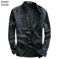 SMART SUGAR 2017 New Arrival Men Shirt Spring Chinese Style Slim Vintage Casual Cotton Linen Stand