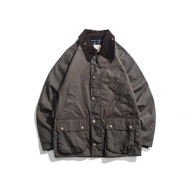 Mens Wax Oil Coat Waxed Waterproof Jacket Vintage Clothes Trench Coat