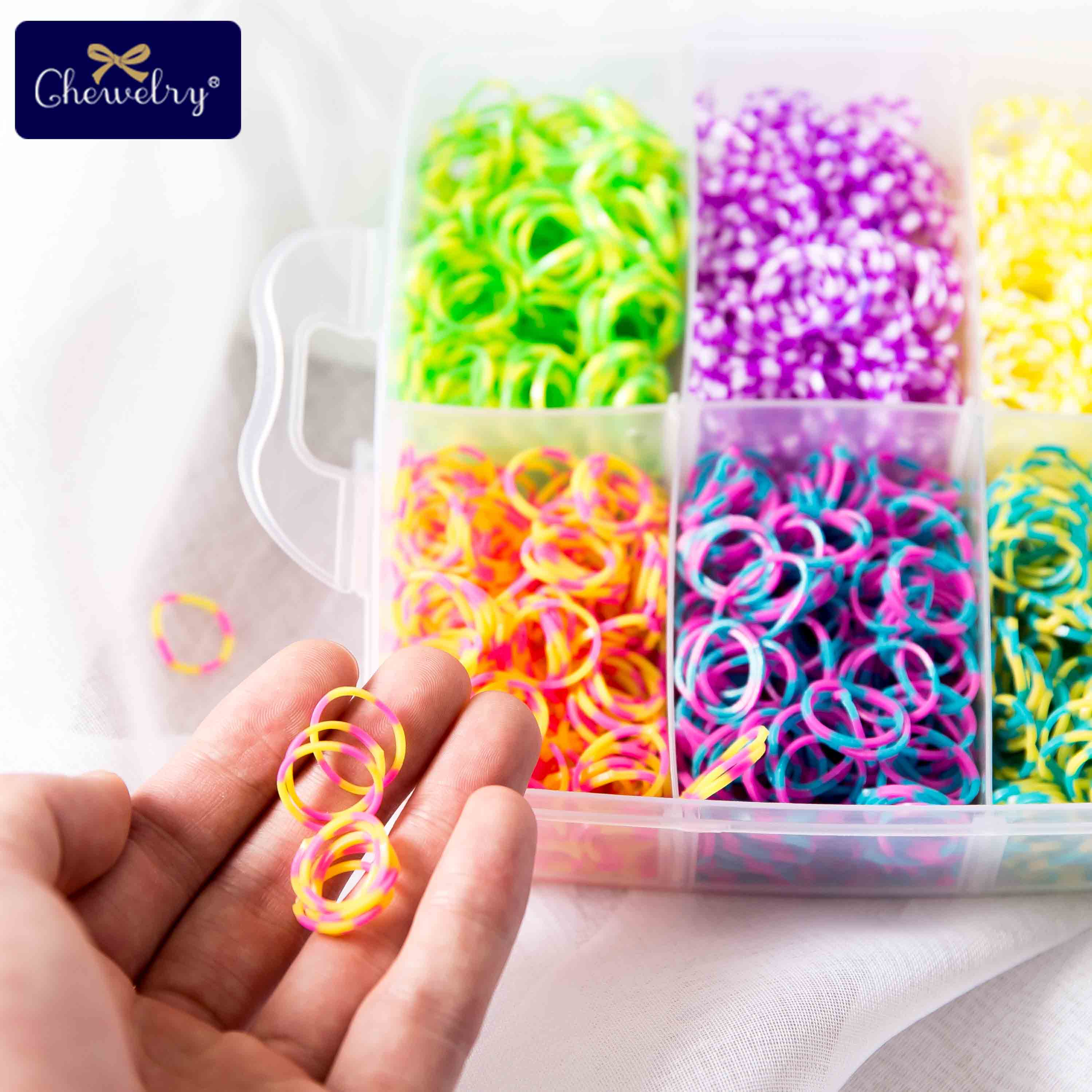 1800pc Elastic Rubber Loom Bands Kids Weaving Bracelet Toys Rainbow Rubber Girl Braid Plaits Accessories Children'S Goods Gifts