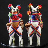 South America Peruvian 2PCS/SET Alpaca Grass Mud Horse Animal Model Plush Toys Handmade Artist Living Room Decor M1443