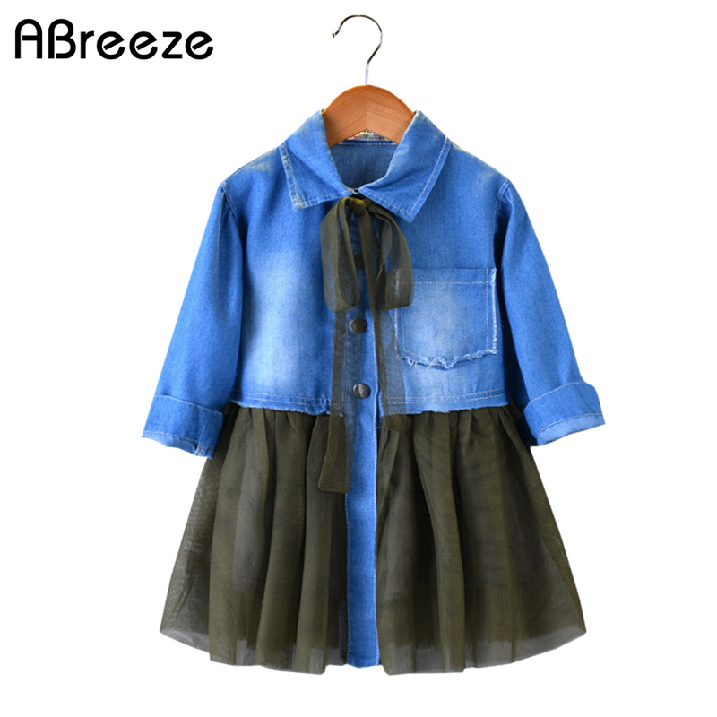 New spring autumn girls clothes casual Denim style mesh dresses for girls 2-7Y  turn-down collar girls ball gown 4pcs new for ball uff bes m18mg noc80b s04g