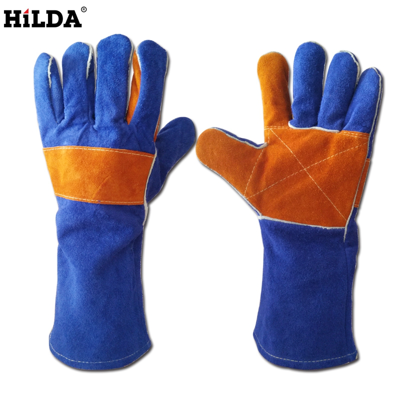 HILDA 35cm/40cm Leather Fireproof Adiabatic Welding Gloves For Tig Welders/Mig/Fireplace/Stove/BBQ/Gardening/Welding Mask