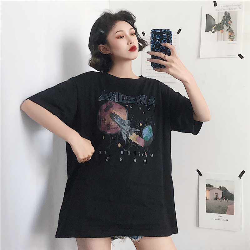 Women's Tshirts Tunic Kawaii Girl Vintage Pattern Planet Letter Print Loose T-shirt Female Ulzzang Harajuku Tunic For Women
