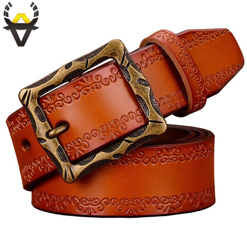 Fashion Designer Genuine Leather Belts For Men High Quality Vintage Pin Buckle Man Belt Second Layer Cow Skin Waist Strap Brown