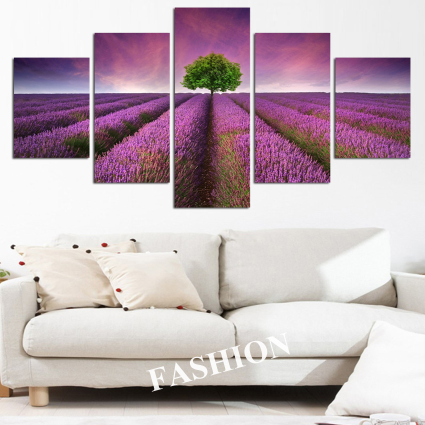 NO okvir 5pcs Provansa sivka modularne slike cvetje platno slikarstvo - Dekor za dom - Fotografija 5