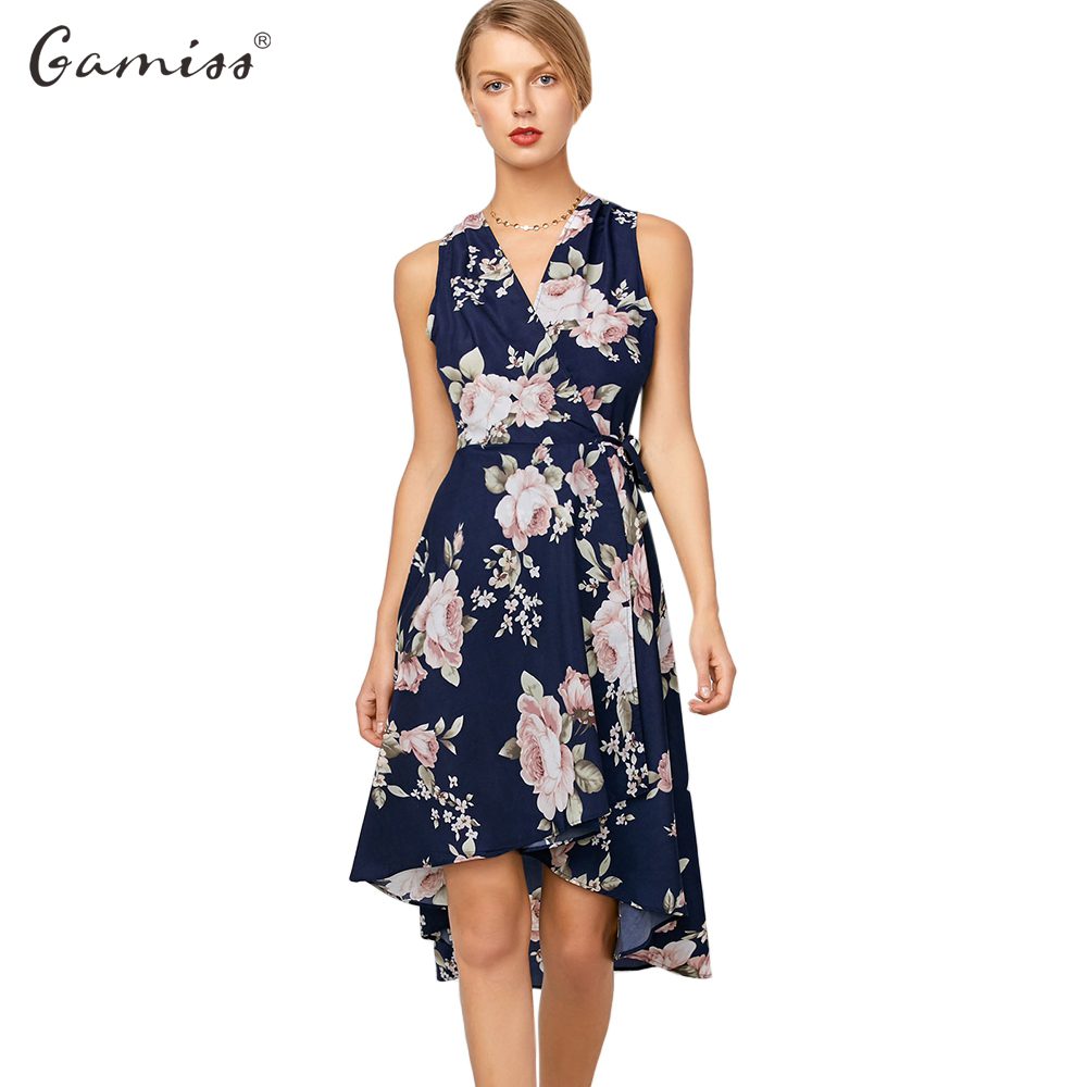 Fashion: Gamiss 2017 Fashion High Low Floral Sleeveless Dress Sexy