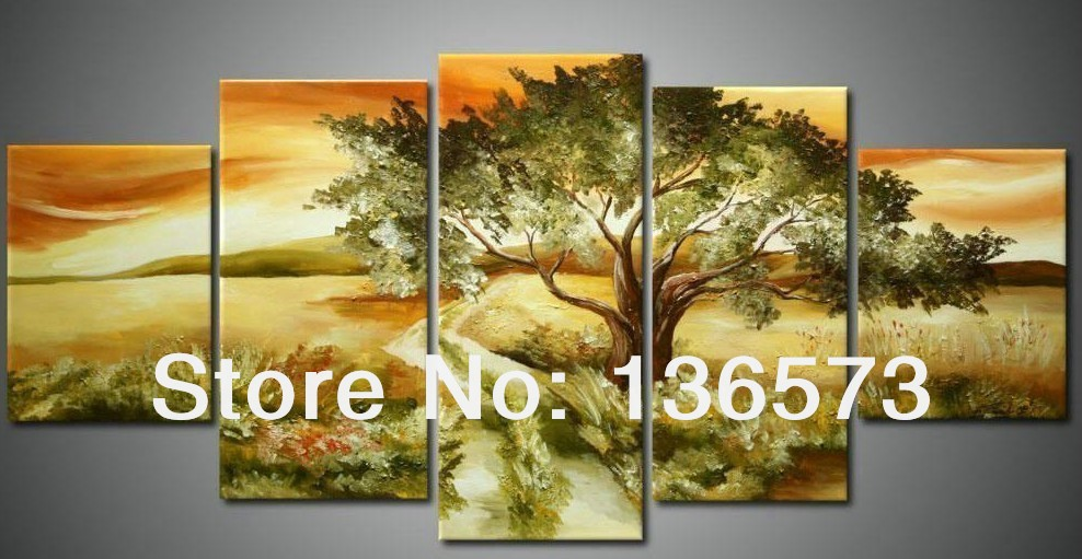 Handmade Green Abstract Tree Painting Oil 5 Piece Canvas