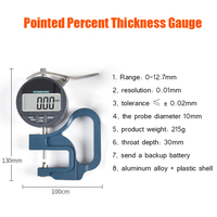 Pointer Percent Thickness Gauge, 0 12.7 Measuring Paper Film Thickness Gauge