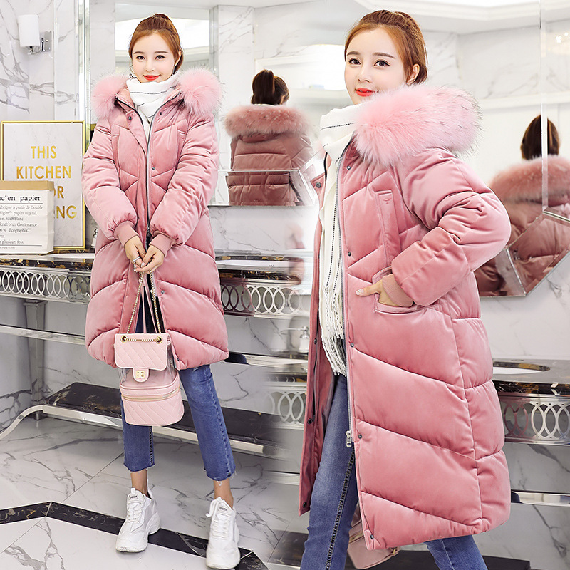 Hooded Fur Collar Velour Winter   Down     Coat   Jacket Thick Warm Women Casaco Feminino Abrigos Mujer Invierno Student Wadded Parkas