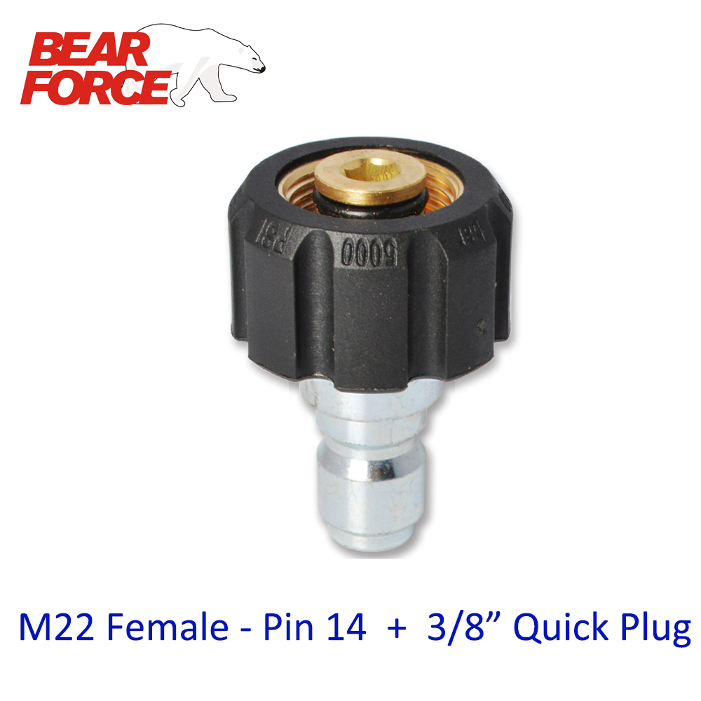 High Pressure Washer Car Washer Brass Connector Adapter M22 Female + 3/8