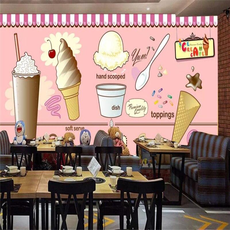 Carta Da Parati Personalizzata Ice Cream Ice Cream Coffee Shop Negozio Di Tè Ristorante Sfondo Della Parete Pittura Decorativa Materiale Impermeabile Impermeabile, Resistente Agli Urti E Antimagnetico