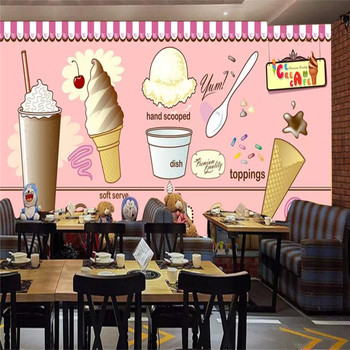 Custom wallpaper ice cream ice cream coffee shop tea shop restaurant background decorative wall painting waterproof material free shipping custom wallpaper mural retro japanese traditional culture restaurant sushi shop background wall painting deco