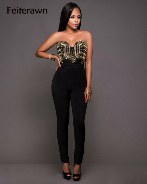 e24be342c8a9 Feiterawn 2017 Black Women Bodycon Jumpsuits Sexy Strapless Backless Skinny Rompers  Club Wear Jumpsuits Back Zipper