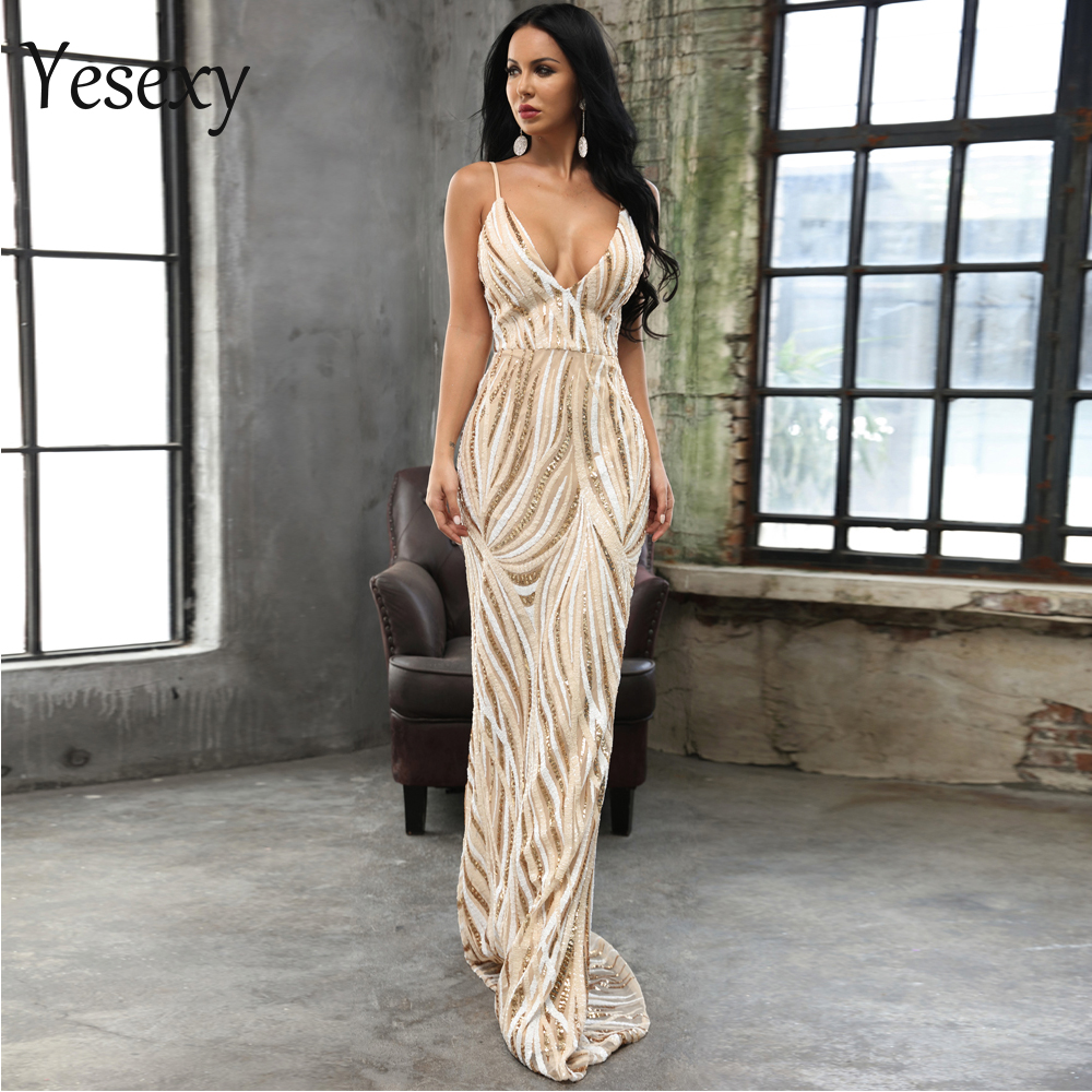 Yesexy 2019 Summer Sexy Deep V Off Shoulder Sequin Dresses Elegant Female Maxi Party Women Dress