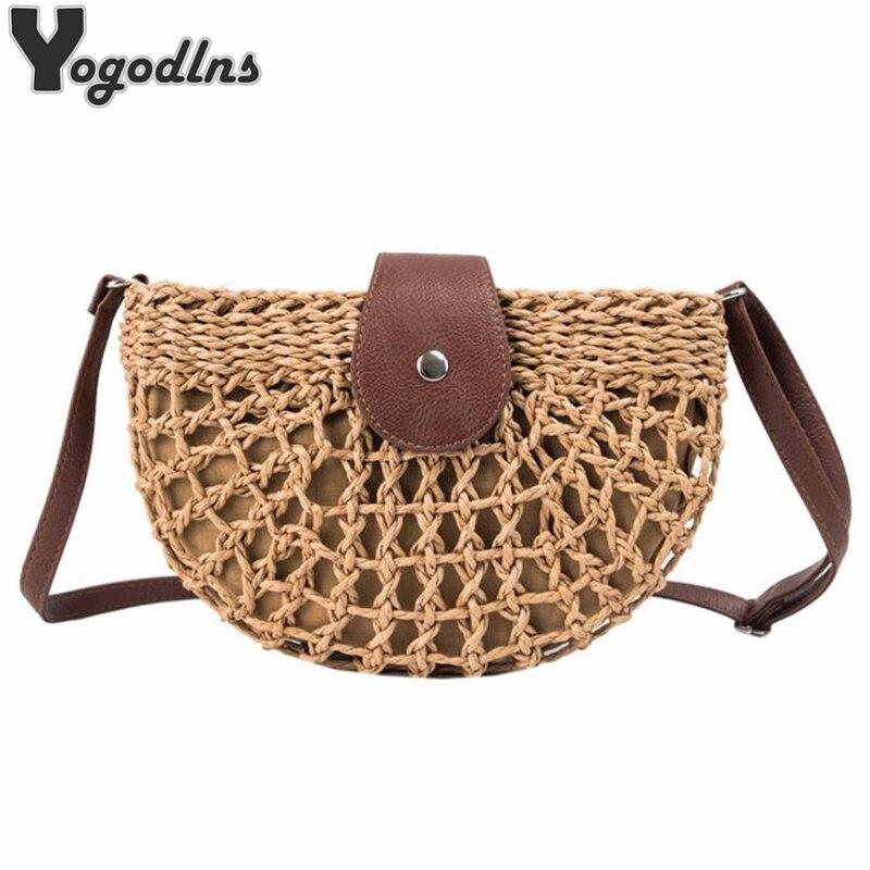 New Summer Rattan Bags Women Saddle Straw Shoulder Bag Handmade Crossbody Bag Lady Handbags Woven Bohemia Clutch 2019