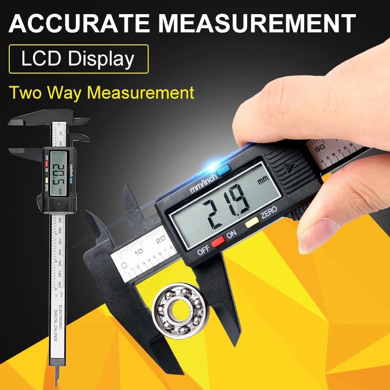 150mm 6 inch LCD Digital Electronic Carbon Fiber Vernier Caliper Gauge Micrometer Measuring Tool Digital Ruler