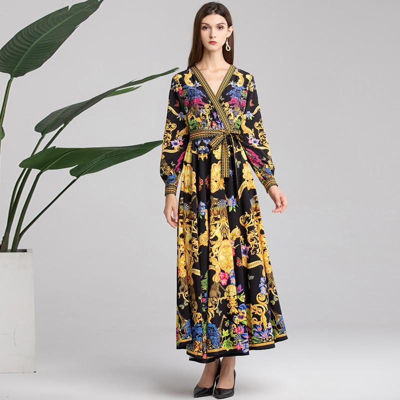 Vintage De Longues Manches Longue Printemps Nouveau Col Imprimé Designer Femmes Fashion Été Floral Robe Piste Maxi Multi V 2019 Robes Soirée pxqWw7f